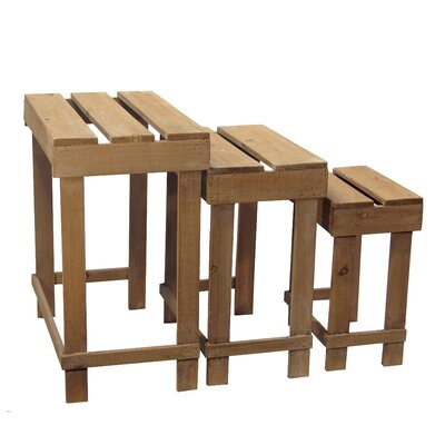 3 Piece Rectangular Plant Stand and Pedestal Set