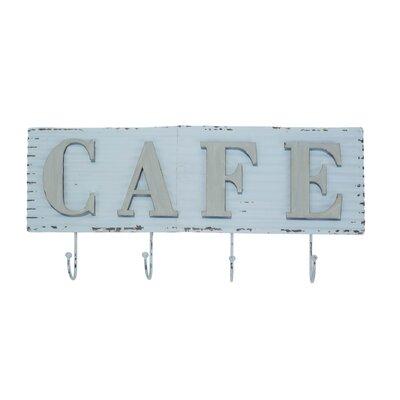 Metal Cafe Sign Wall Mounted Coat Rack