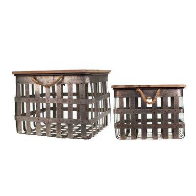 2 Piece Metal Crate Set