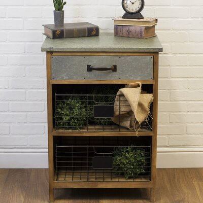 Farmhouse Wood and Galvanized Metal 1 Drawer Accent Chest