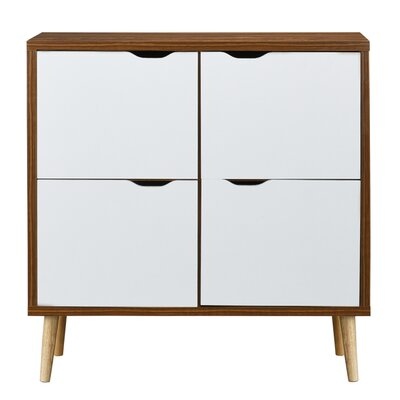 Waltrip Mid Century 4 Door Accent Cabinet Color: Brown/White