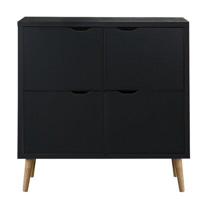 Waltrip Mid Century 4 Door Accent Cabinet Color: Dark Gray