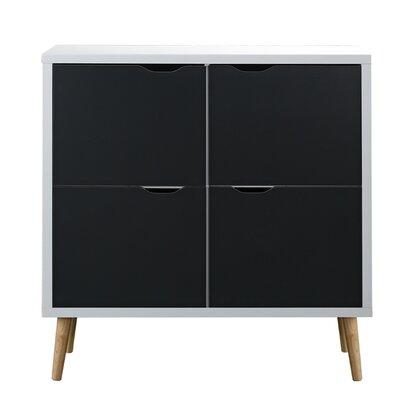 Waltrip Mid Century 4 Door Accent Cabinet Color: White/Dark Gray