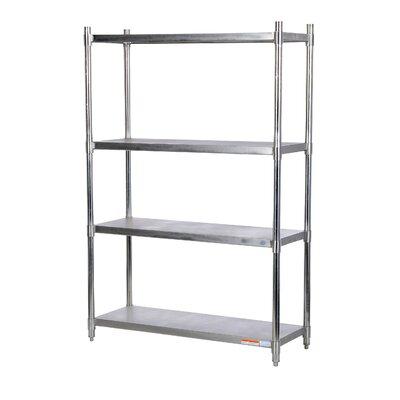 "4"" H Three Shelf Shelving Unit Size: 74"" H x 48"" W x 18"" D"