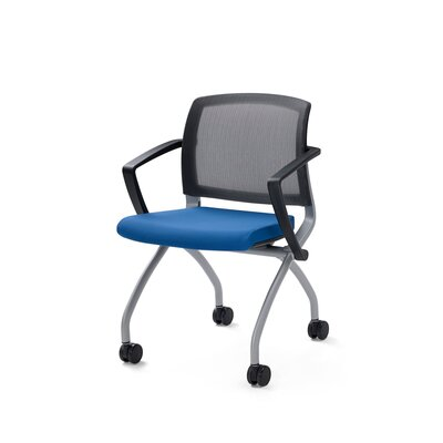 Zego Mesh Desk Chair (Set of 2) Upholstery: Blue, Frame Finish: Platinum