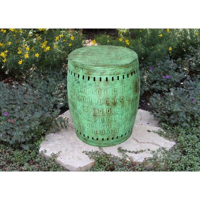 "Multiple Purpose Hand Tooled Shaped 17"" H x 11"" W x 11"" D Metal Stool Finish: Verdigris"