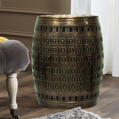 """Multiple Purpose Hand Tooled Shaped 17"""" H x 11"""" W x 11"""" D Metal Stool Finish: Bronze"""
