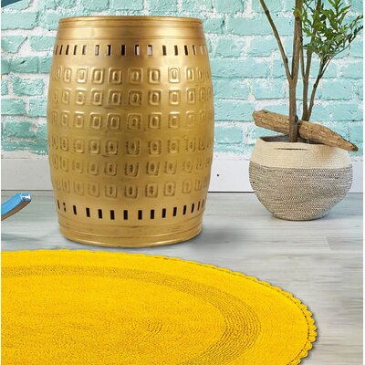 """Multiple Purpose Hand Tooled Shaped 19"""" H x 14"""" W x 14"""" D Metal Stool Finish: Gold"""