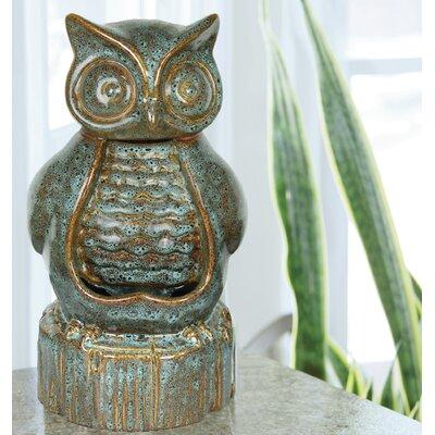 American garden decor - Ceramic Owl Fountain - Beckett Indoor and Outdoor Fountains