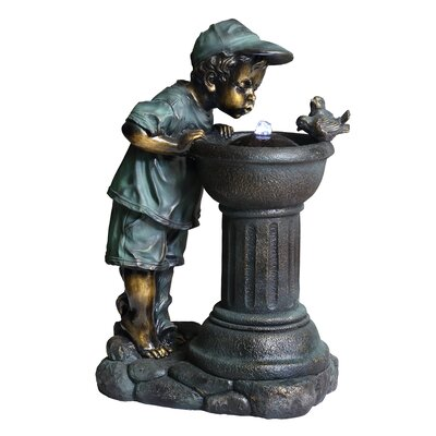 American garden decor - Ceramic Sharing the Water Fountain with LED Light - Beckett Indoor and Outdoor Fountains