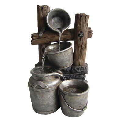 American garden decor - Fiberglass/Resin Pewter Metal Silver Buckets on a Fence Fountain - Beckett Indoor and Outdoor Fountains