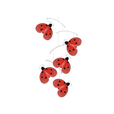 Ladybug Shimmer Nylon Hanging Mobile Color: Green/Pink