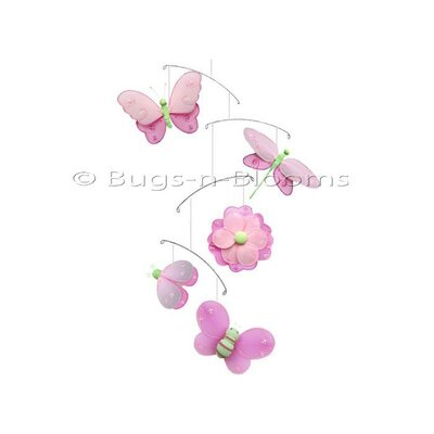 Butterfly Dragonfly Ladybug Nylon Flower Bee Mobile Color: Dark Pink/Green/Pink