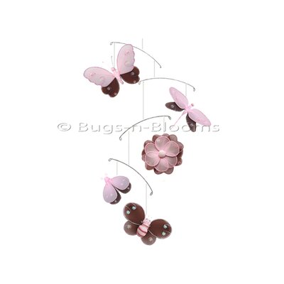 Butterfly Dragonfly Ladybug Nylon Flower Bee Mobile Color: Brown/Pink