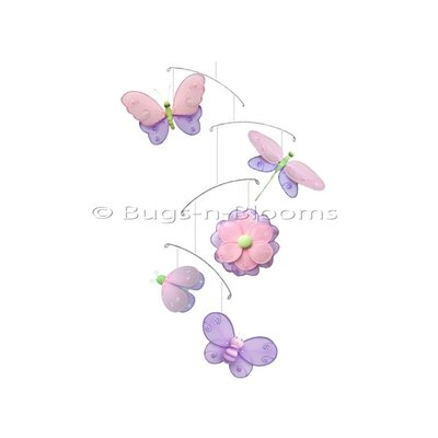 Butterfly Dragonfly Ladybug Nylon Flower Bee Mobile Color: Pink/ Purple/Green