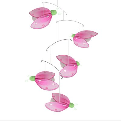 Ladybug Glitter Nylon Hanging Mobile Color: Green/Pink