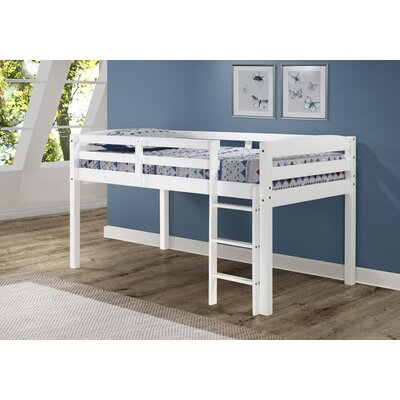 Junior Loft Slat Bed Bed Frame Color: White, Size: Full
