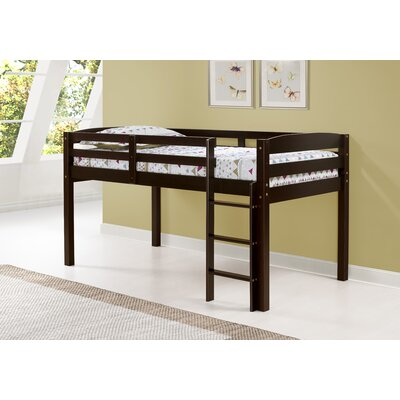 Junior Loft Slat Bed Bed Frame Color: Cappuccino, Size: Full