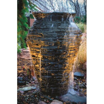 Fiberglass Medium Stacked Slate Urn Fountain