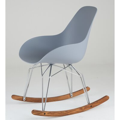 Diamond Dimple Rocking Chair Leg Color: Chrome, Frame Color: Light Grey