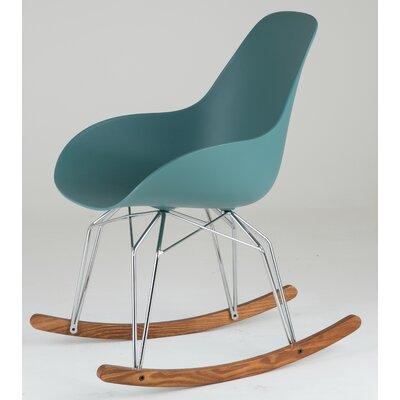 Diamond Dimple Rocking Chair Leg Color: Chrome, Frame Color: Ocean Blue