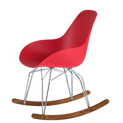 Diamond Dimple Rocking Chair Leg Color: Chrome, Frame Color: Red