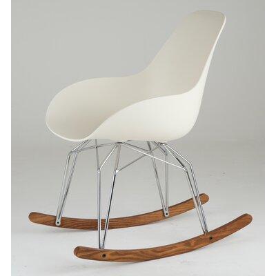 Diamond Dimple Rocking Chair Leg Color: Chrome, Frame Color: Cream