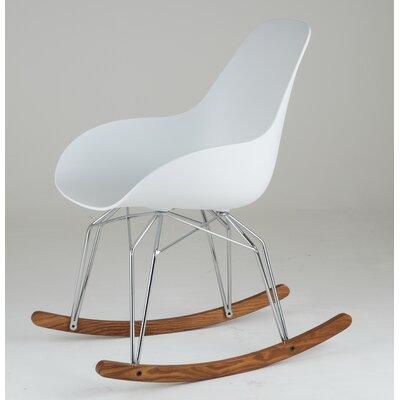 Diamond Dimple Rocking Chair Leg Color: Chrome, Frame Color: White