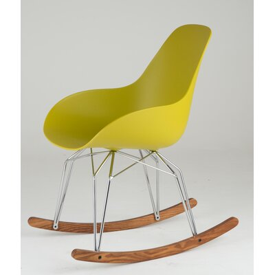 Diamond Dimple Rocking Chair Leg Color: Chrome, Frame Color: Mustard