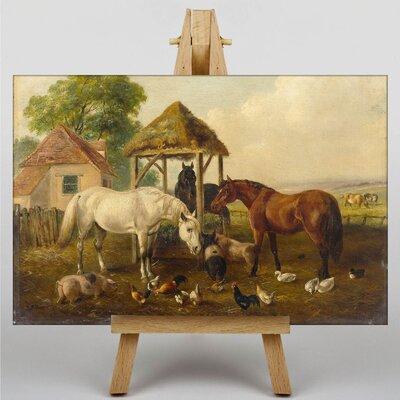 Big Box Art Horses in the Paddock by John Frederick Herring Art Print on Canvas