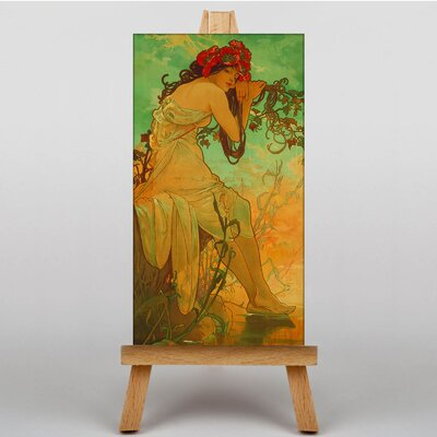 Big Box Art Lady with Red Flowers in her Hair by Alphonse Mucha Graphic Art on Canvas