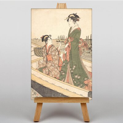 Big Box Art Japanese Oriental Two Women in a Boat by Utagawa Art Print on Canvas