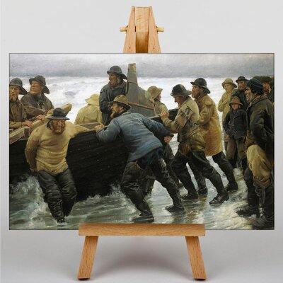 Big Box Art Fishermen Launching a Boat by Michael Ancher Art Print on Canvas