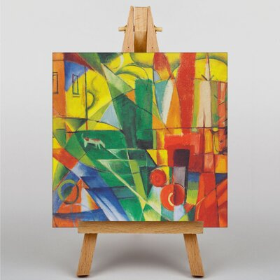 Big Box Art Landscape with House, Dog and Cow by Franz Marc Art Print on Canvas