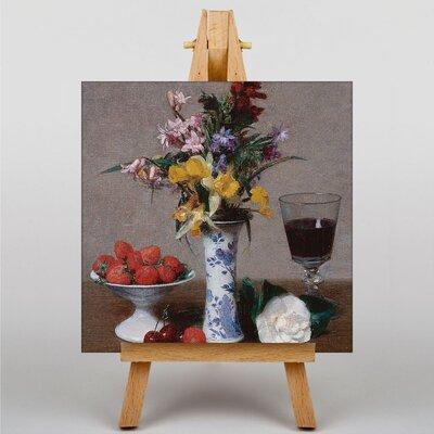 Big Box Art Still Life Fruit with Flowers No.1 by Henri Fantin-Latour Art Print on Canvas