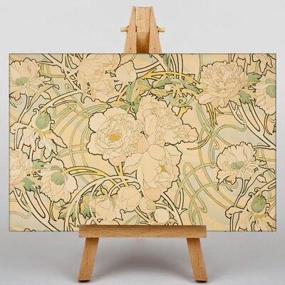 Big Box Art Peonies by Alphonse Mucha Art Print on Canvas