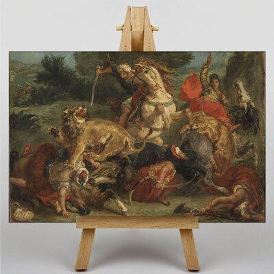 Big Box Art Lion Hunt by Eugene Delacroix Art Print on Canvas
