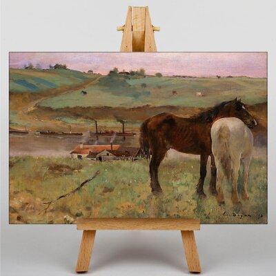Big Box Art Horses in a Meadow by Edgar Degas Art Print on Canvas