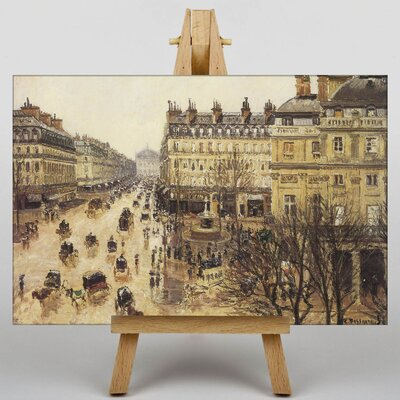 Big Box Art Theatre France in the Rain by Camille Pissaro Art Print on Canvas