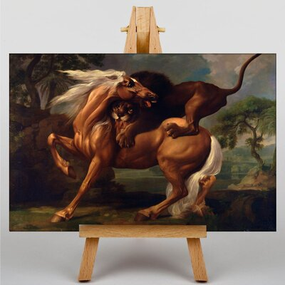 Big Box Art Lion Attacking a Horse by George Stubbs Art Print on Canvas