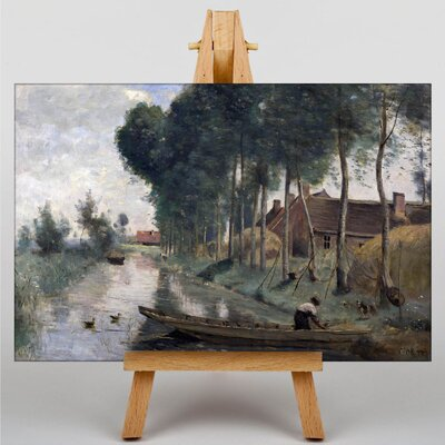 Big Box Art Boat in Lake by Jean-Baptiste Camille Corot Art Print on Canvas