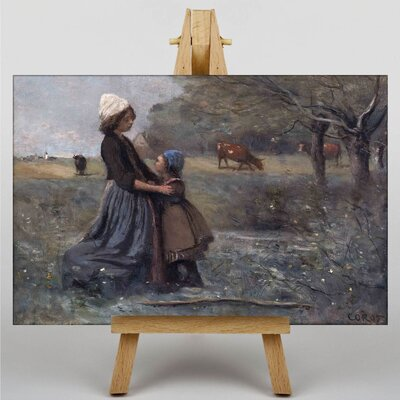 Big Box Art Mother with Daughter by Jean-Baptiste Camille Corot Art Print on Canvas