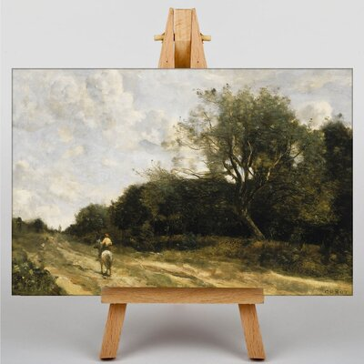 Big Box Art On the Road by Jean-Baptiste Camille Corot Art Print on Canvas