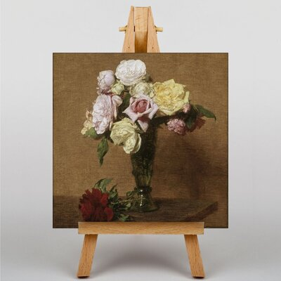Big Box Art Roses in a Fluted Vase by Henri Fantin-Latour Art Print on Canvas