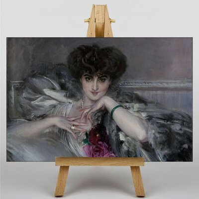 Big Box Art Portrait of Woman with Roses by Giovanni Boldini Art Print on Canvas