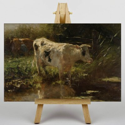 Big Box Art Cow by Water by Willem Maris Art Print on Canvas