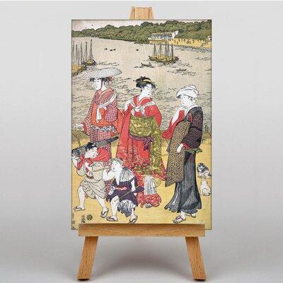 Big Box Art Japanese Oriental Women at Takanawa Beach by Utagawa Graphic Art on Canvas
