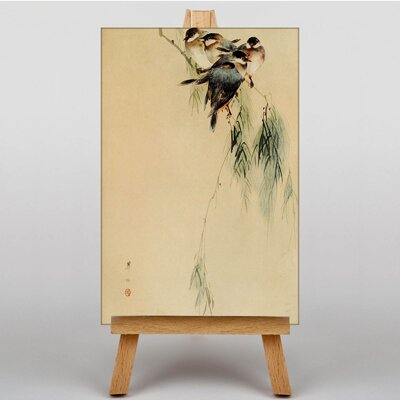 Big Box Art Blue Finches Birds Japanese Oriental Art Print on Canvas