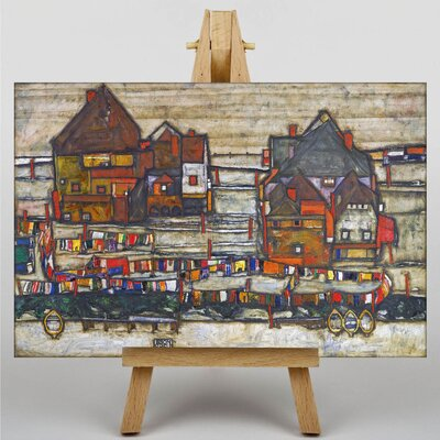 Big Box Art Houses with Laundry by Egon Schiele Art Print on Canvas