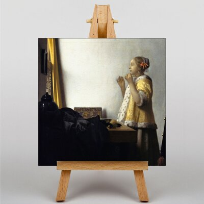 Big Box Art Young Woman with a Pearl Necklace by Johannes Vermeer Art Print on Canvas